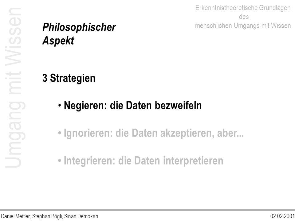 Umgang mit Wissen Philosophischer Aspekt 3 Strategien