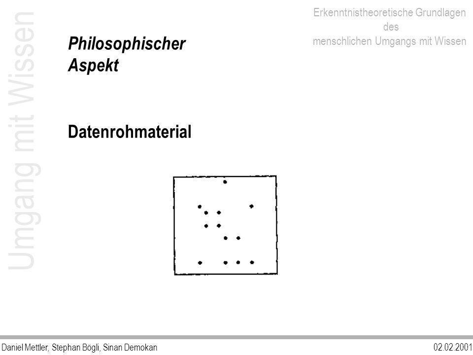 Philosophischer Aspekt Datenrohmaterial Umgang mit Wissen