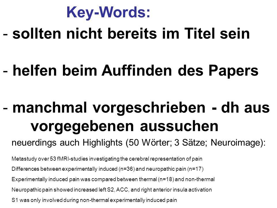 sollten nicht bereits im Titel sein helfen beim Auffinden des Papers