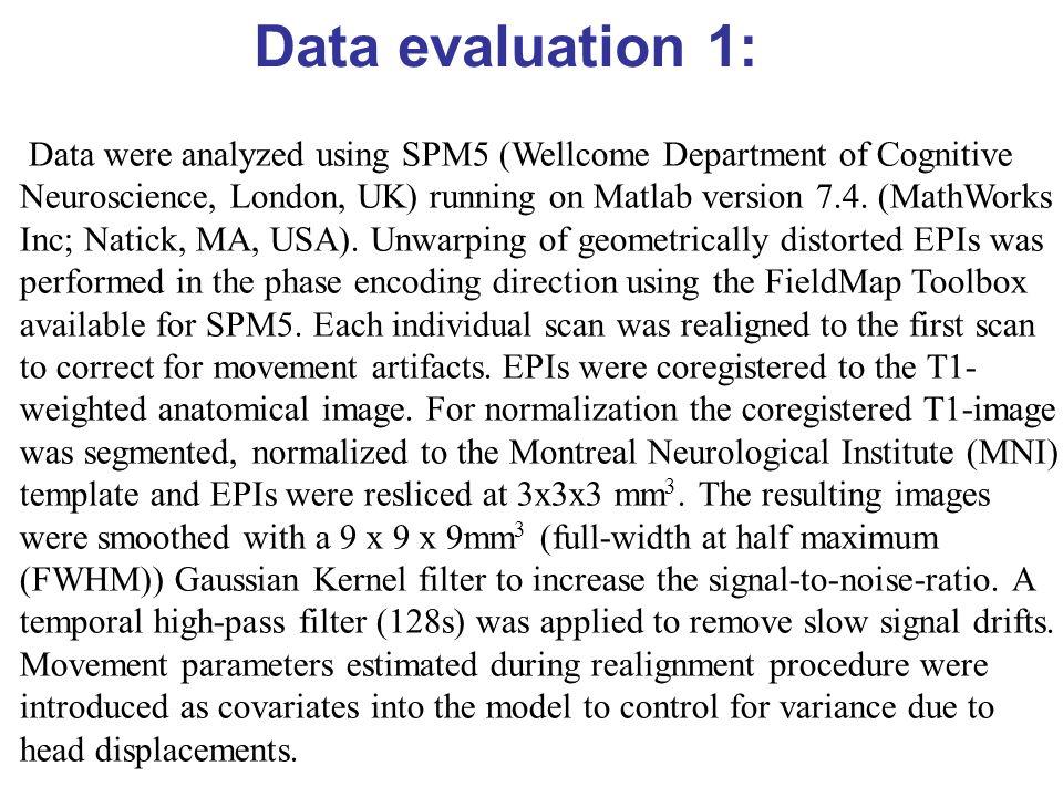 Data evaluation 1: