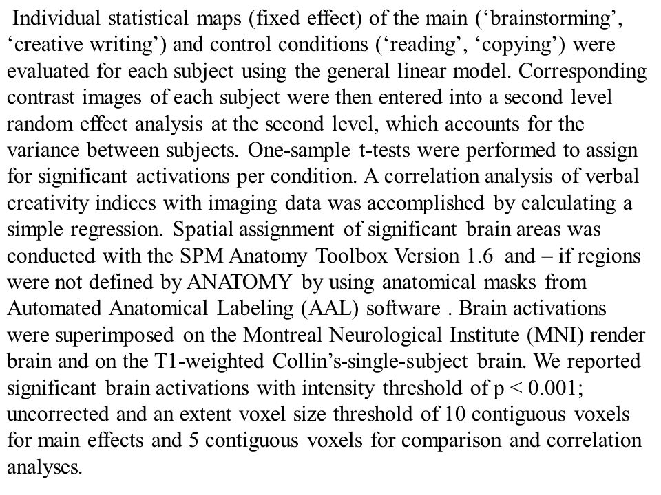 Individual statistical maps (fixed effect) of the main ('brainstorming', 'creative writing') and control conditions ('reading', 'copying') were evaluated for each subject using the general linear model.