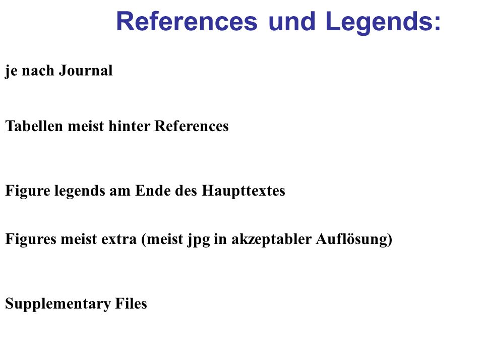 References und Legends: