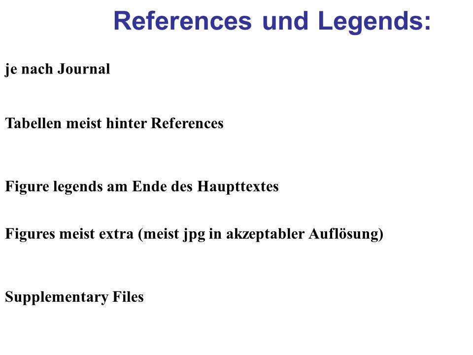 References und Legends: