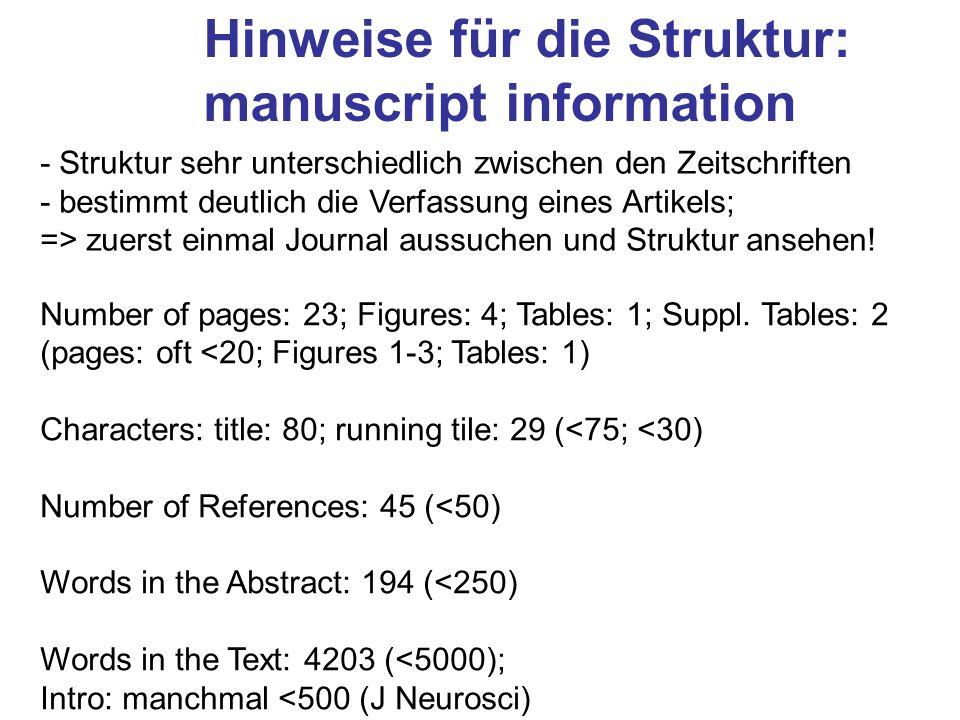Hinweise für die Struktur: manuscript information
