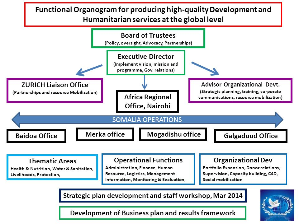Functional Organogram for producing high-quality Development and Humanitarian services at the global level