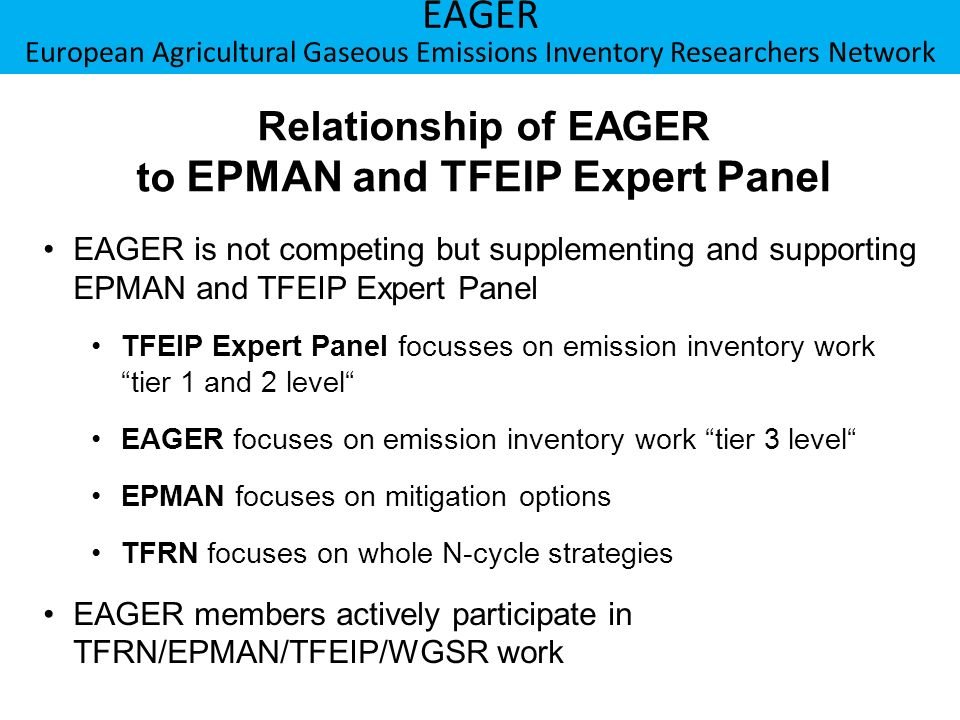 Relationship of EAGER to EPMAN and TFEIP Expert Panel