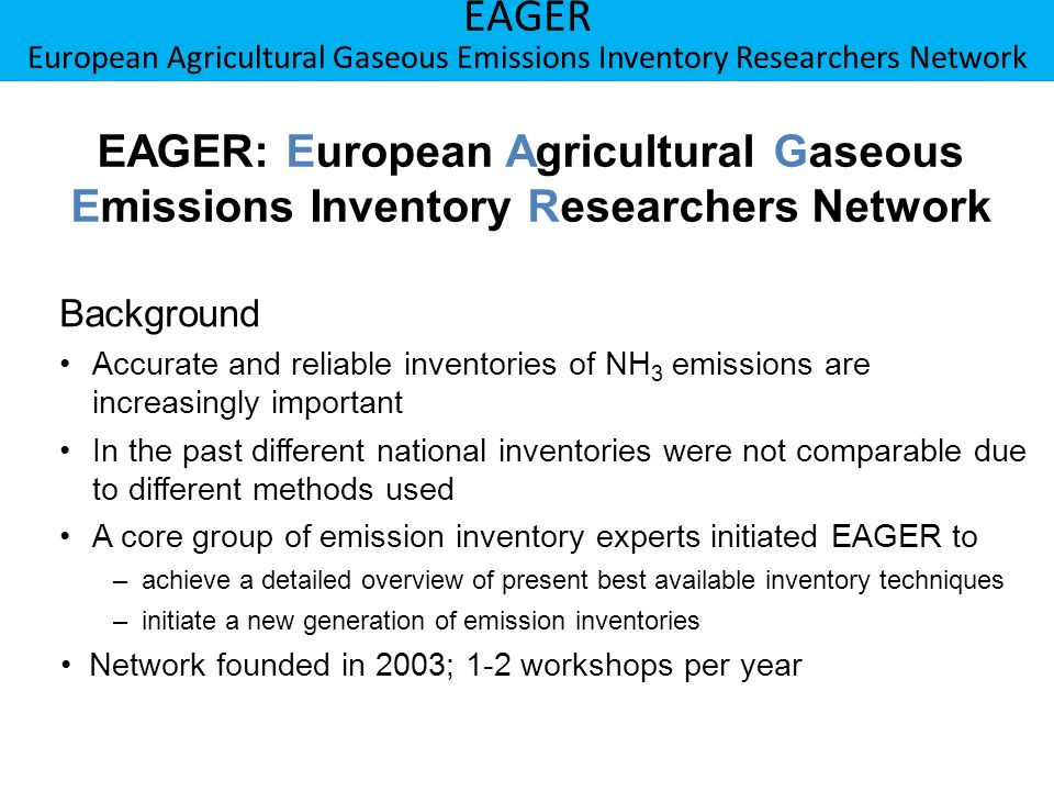 EAGER: European Agricultural Gaseous Emissions Inventory Researchers Network