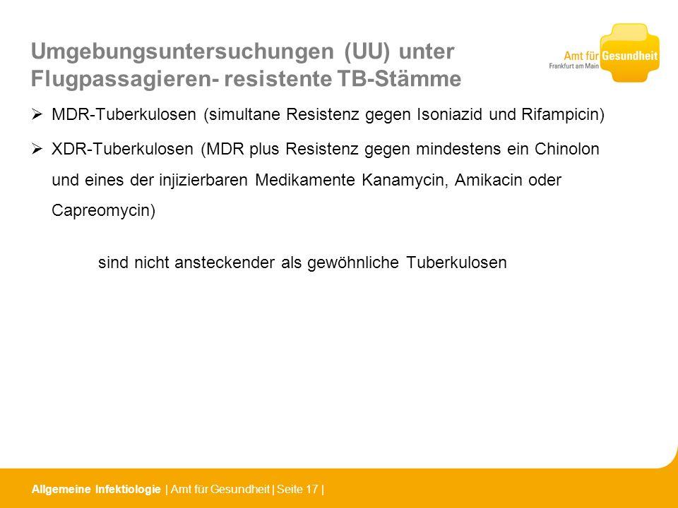 Umgebungsuntersuchungen (UU) unter Flugpassagieren- resistente TB-Stämme