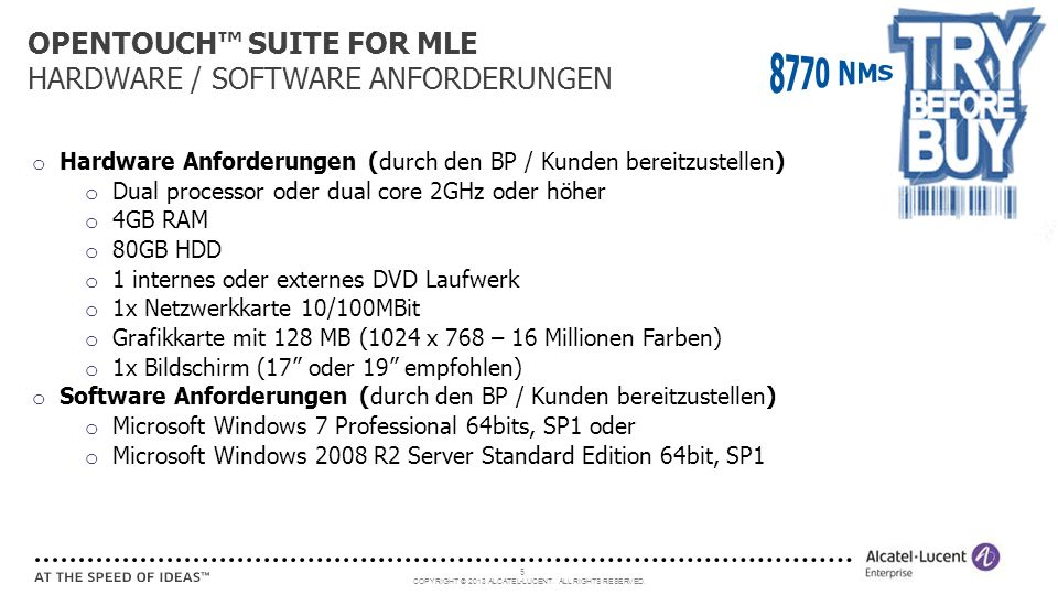 OPENTOUCH™ SUITE FOR MLE HARDWARE / SOFTWARE ANFORDERUNGEN