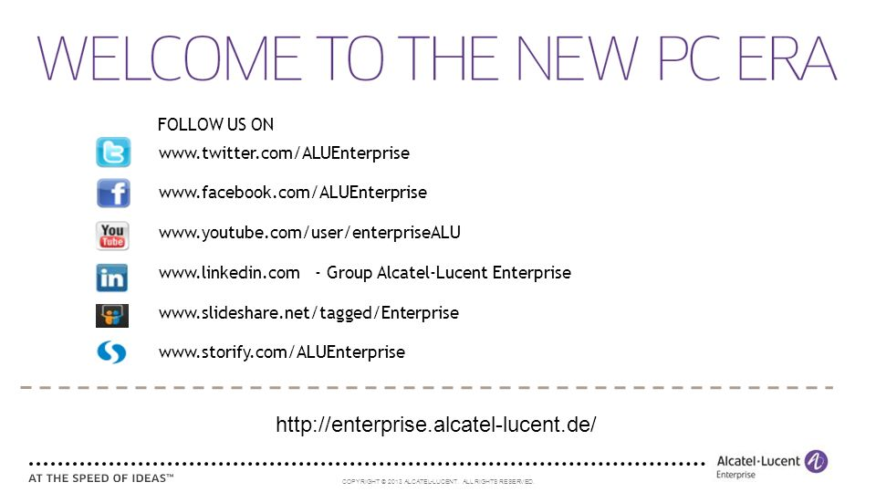 http://enterprise.alcatel-lucent.de/ FOLLOW US ON