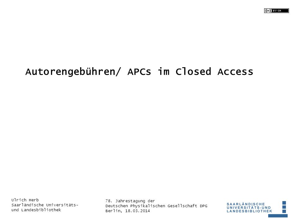 Autorengebühren/ APCs im Closed Access