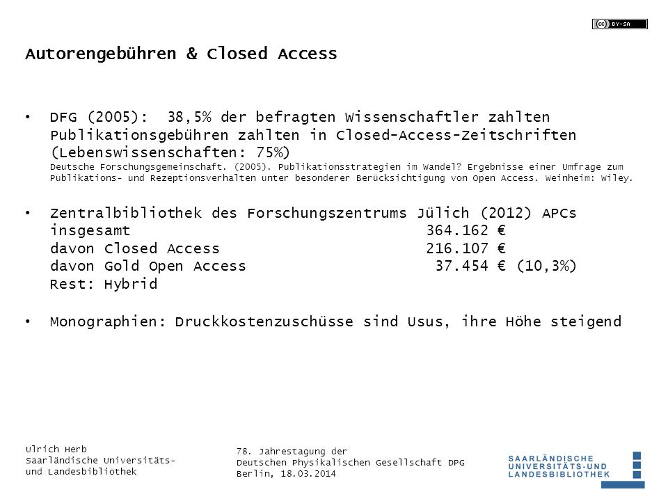 Autorengebühren & Closed Access