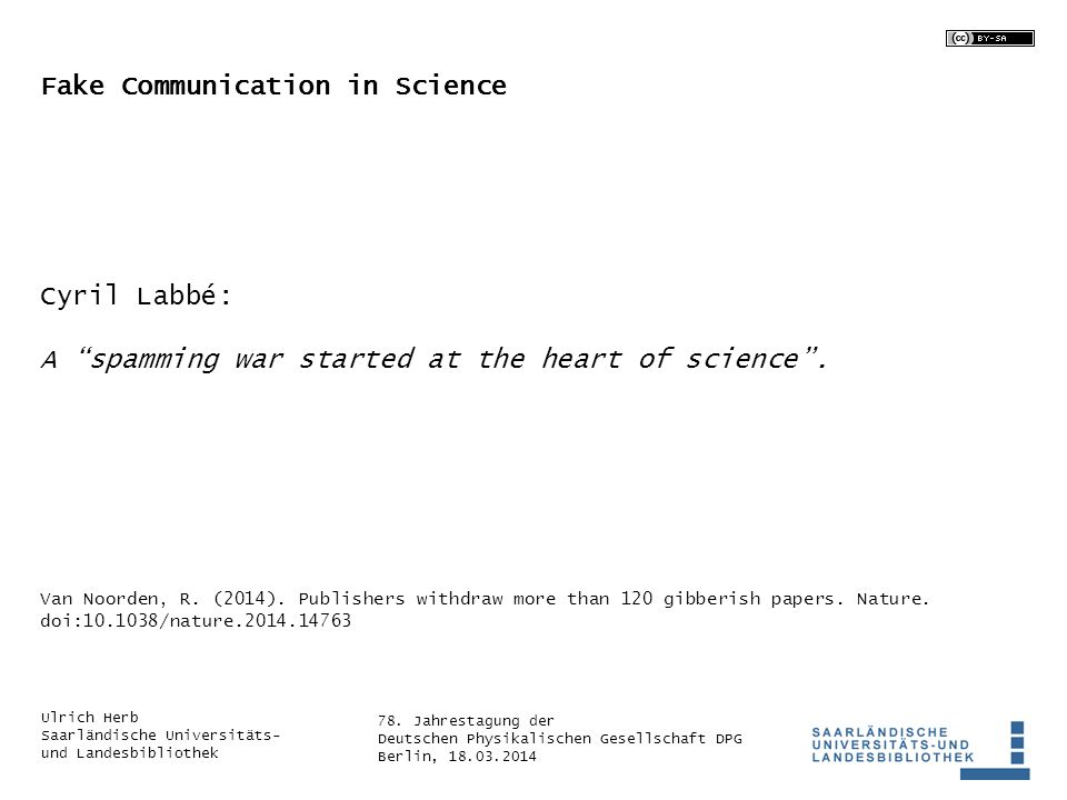 Fake Communication in Science