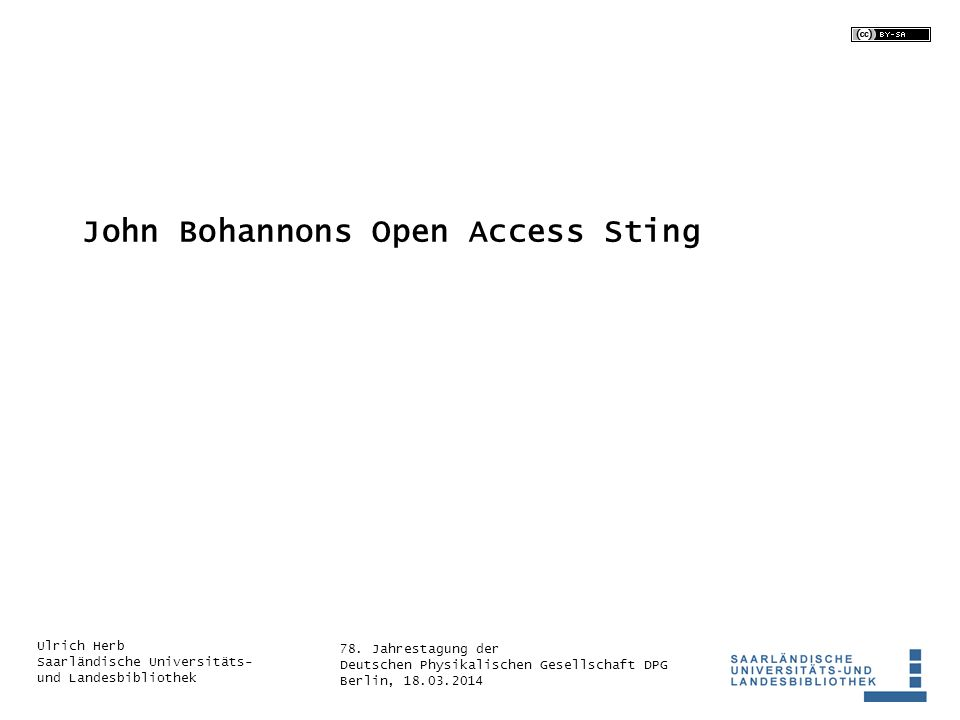 John Bohannons Open Access Sting