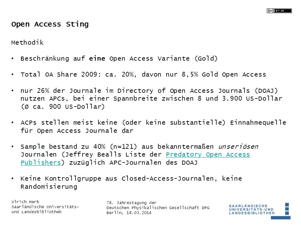 Open Access Sting Methodik