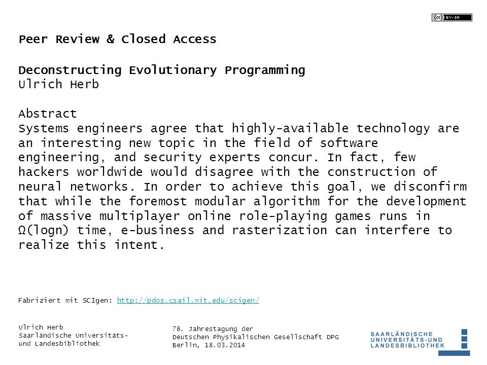 Peer Review & Closed Access Deconstructing Evolutionary Programming
