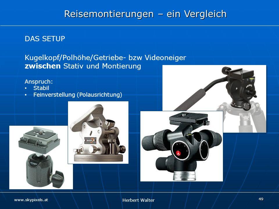 DAS SETUP Kugelkopf/Polhöhe/Getriebe- bzw Videoneiger zwischen Stativ und Montierung. Anspruch: Stabil.