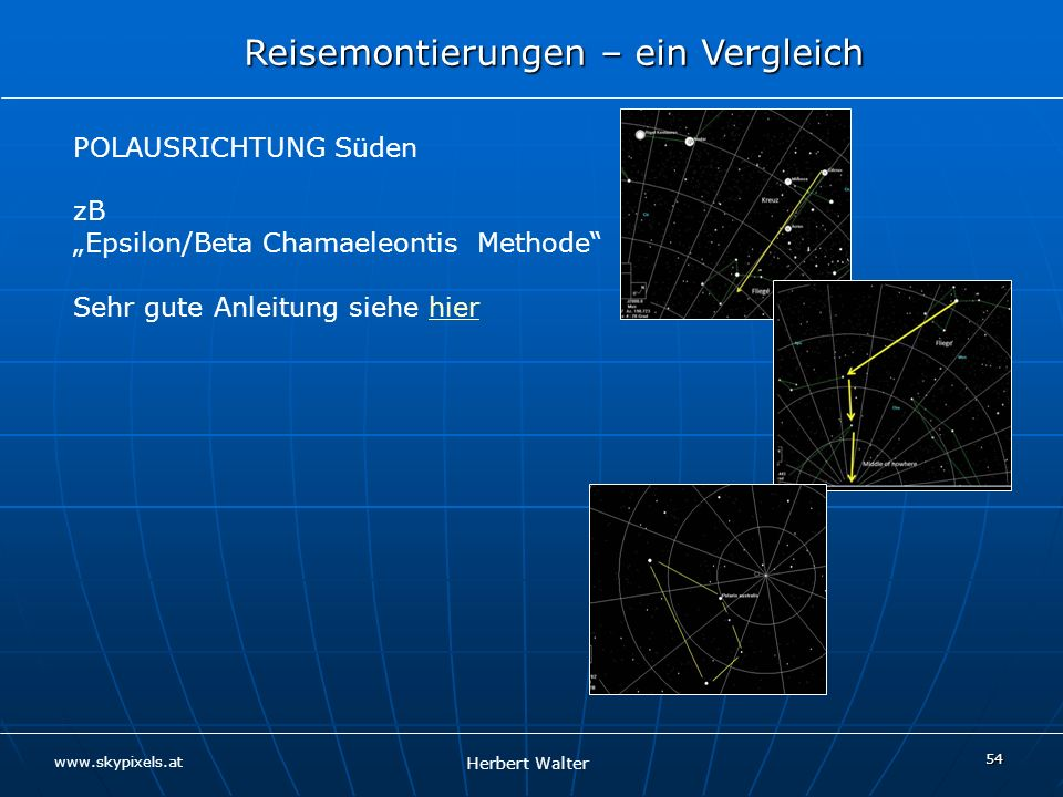 """Epsilon/Beta Chamaeleontis Methode Sehr gute Anleitung siehe hier"
