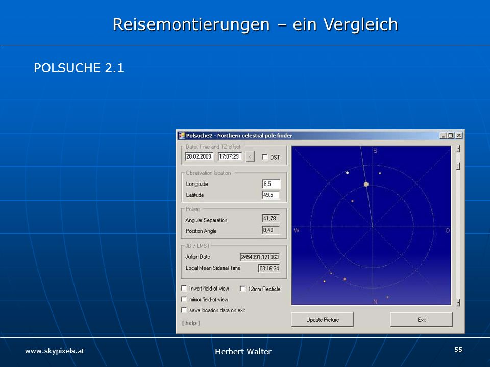 POLSUCHE 2.1 Skizze Stativ POLHÖHENBLOCK Reisemontierung Kugelkopf Kamera