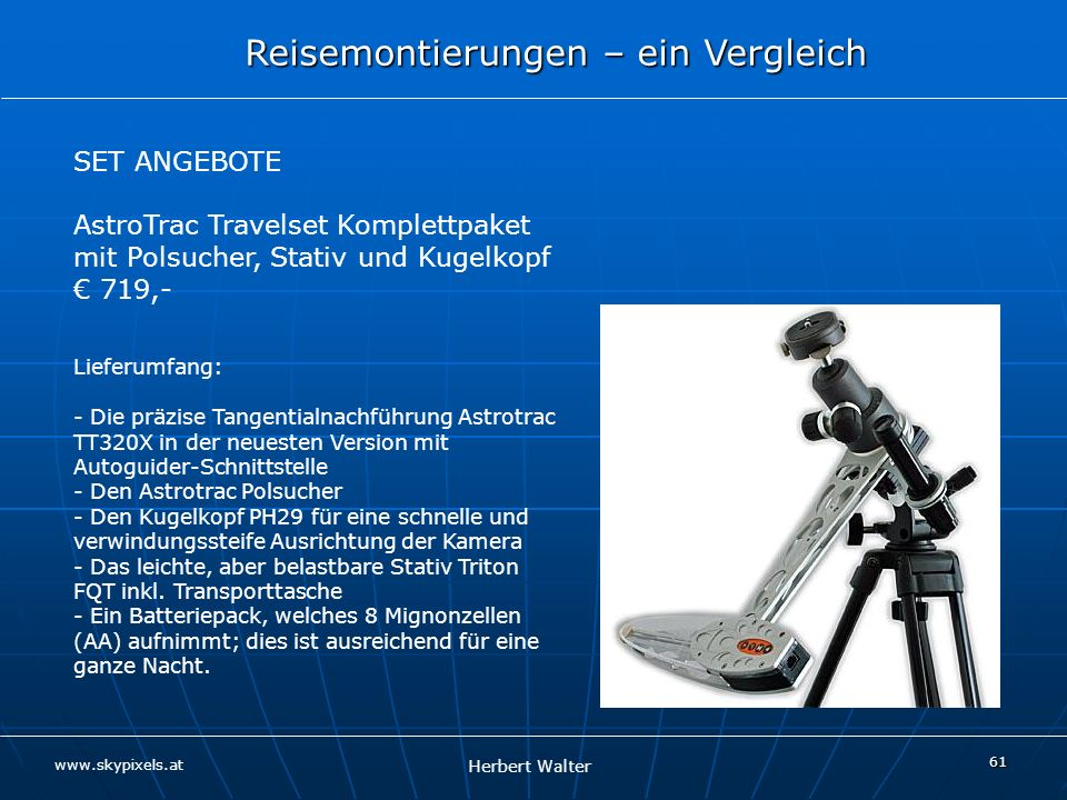 AstroTrac Travelset Komplettpaket mit Polsucher, Stativ und Kugelkopf