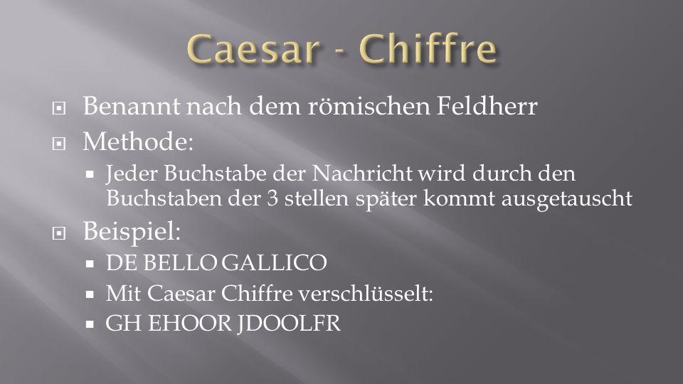 Caesar - Chiffre Benannt nach dem römischen Feldherr Methode: