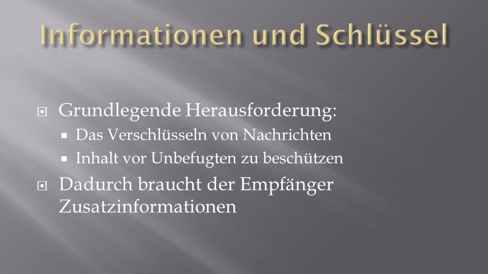 Informationen und Schlüssel