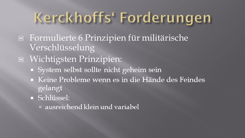 Kerckhoffs' Forderungen