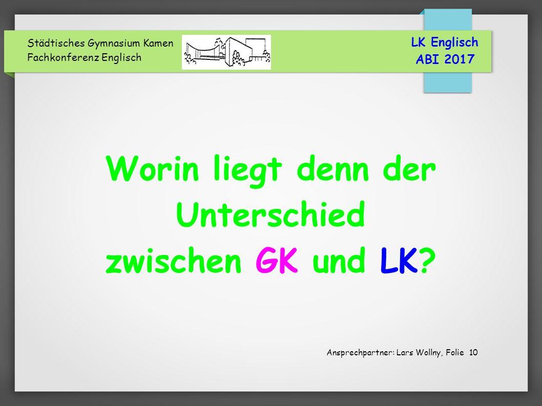 Städtisches Gymnasium Kamen Fachkonferenz Englisch