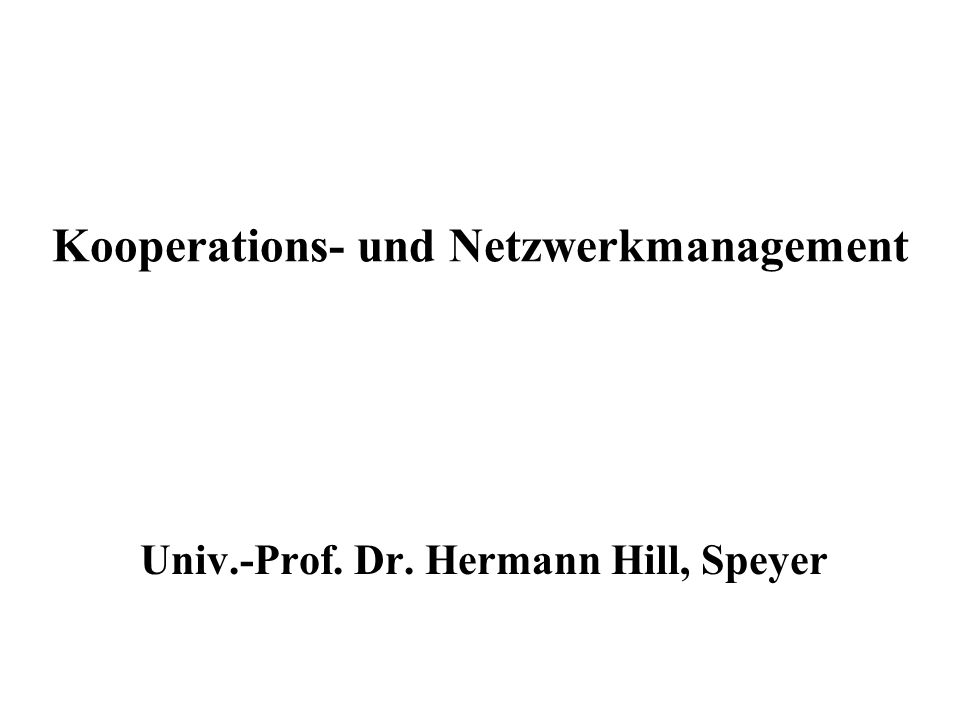 Kooperations- und Netzwerkmanagement