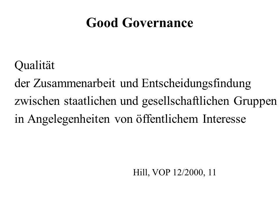 Good Governance Qualität der Zusammenarbeit und Entscheidungsfindung