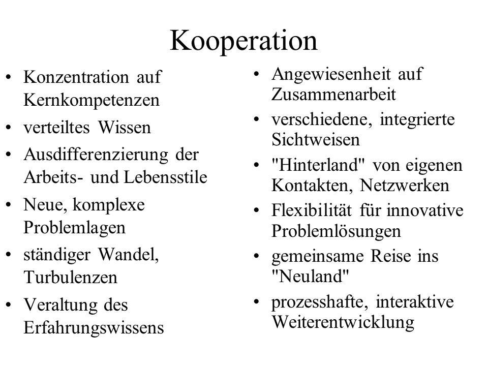Kooperation Konzentration auf Kernkompetenzen