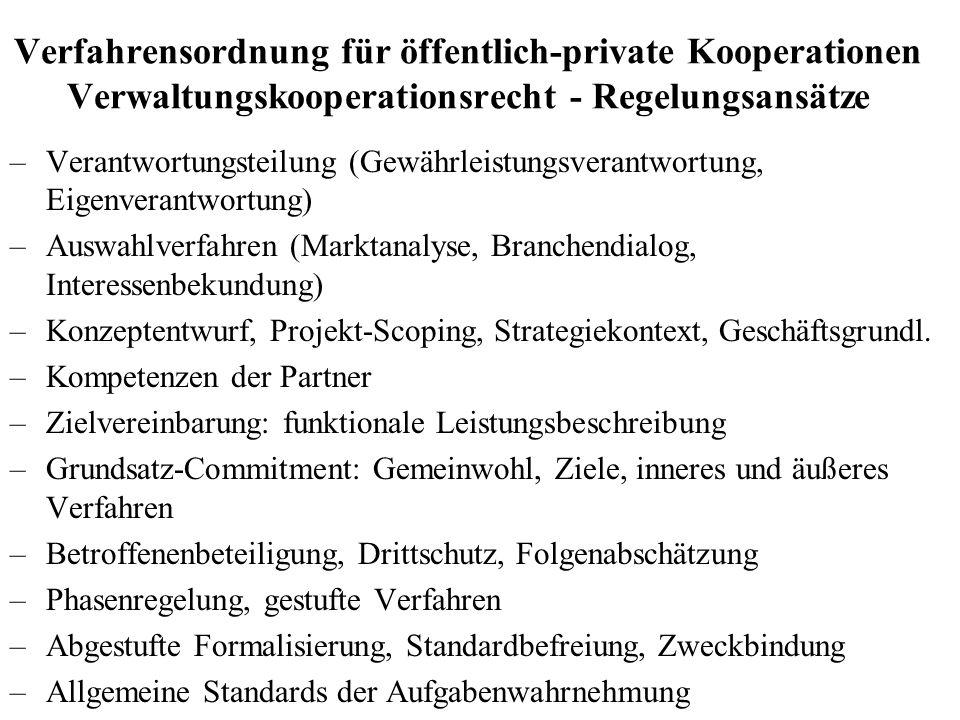 Verfahrensordnung für öffentlich-private Kooperationen Verwaltungskooperationsrecht - Regelungsansätze