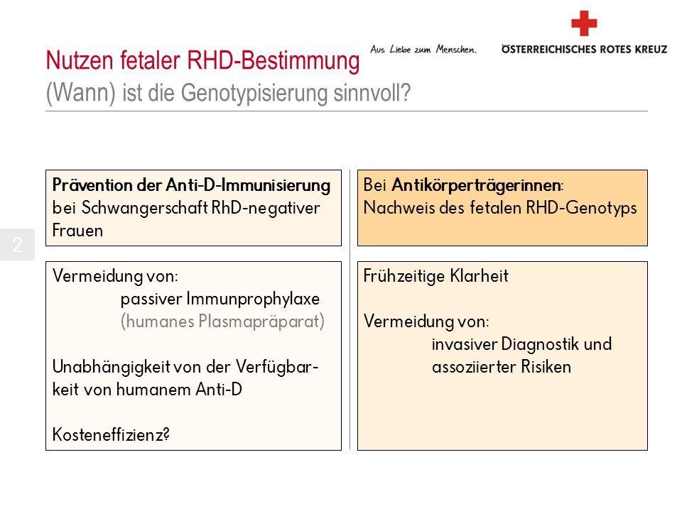 Nutzen fetaler RHD-Bestimmung (Wann) ist die Genotypisierung sinnvoll