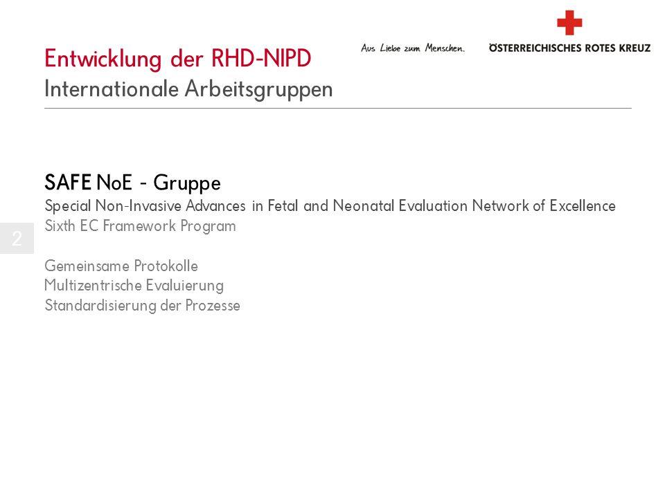 Entwicklung der RHD-NIPD Internationale Arbeitsgruppen