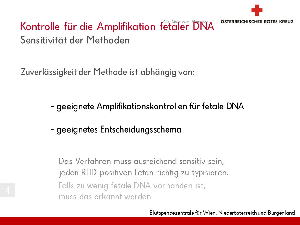 Kontrolle für die Amplifikation fetaler DNA Sensitivität der Methoden