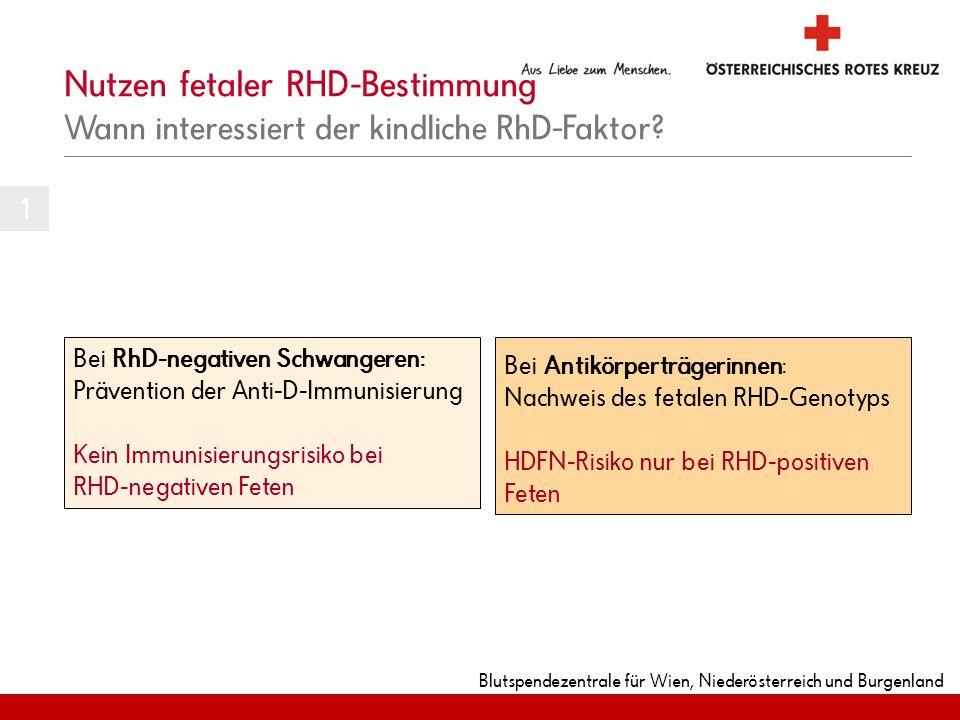 Nutzen fetaler RHD-Bestimmung Wann interessiert der kindliche RhD-Faktor