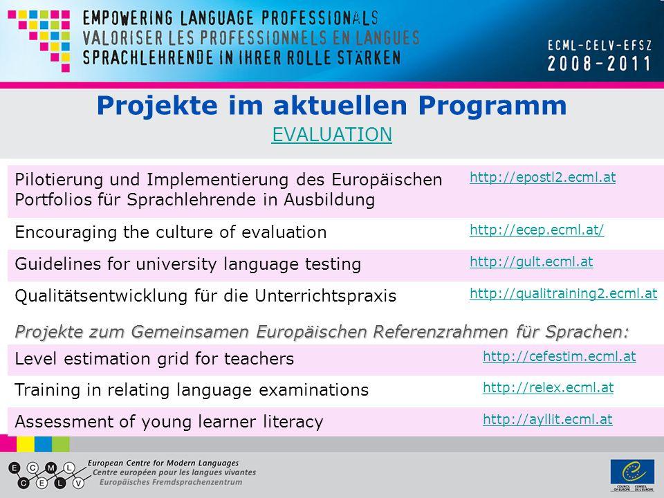 Projekte im aktuellen Programm EVALUATION
