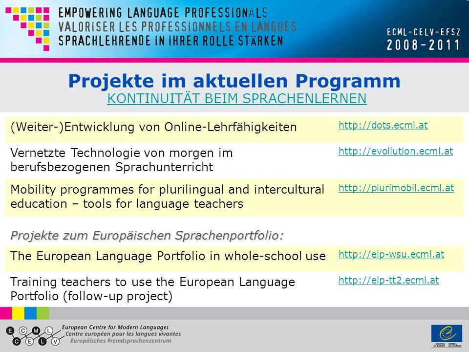 Projekte im aktuellen Programm KONTINUITÄT BEIM SPRACHENLERNEN