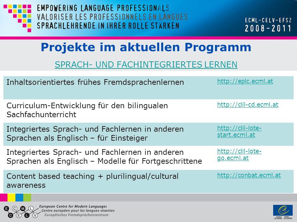 Projekte im aktuellen Programm SPRACH- UND FACHINTEGRIERTES LERNEN