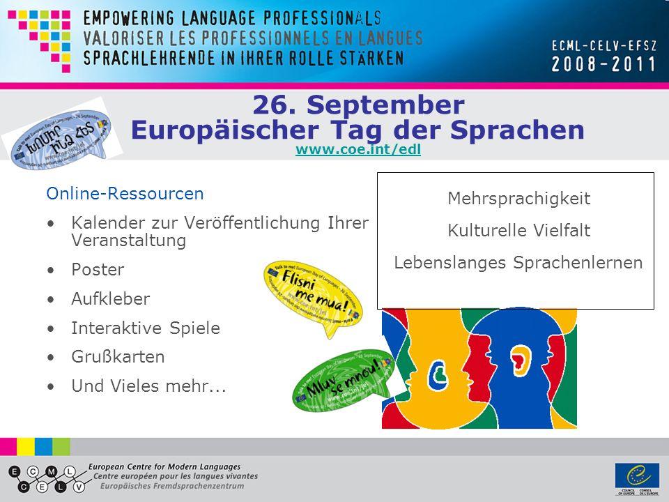 26. September Europäischer Tag der Sprachen www.coe.int/edl
