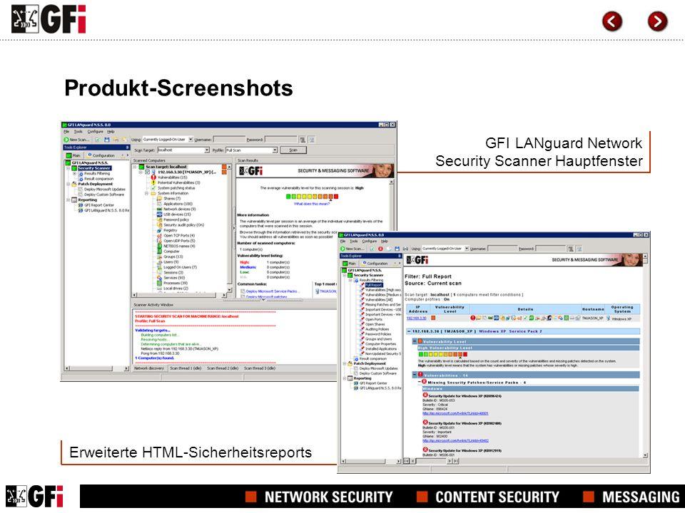 Produkt-Screenshots GFI LANguard Network Security Scanner Hauptfenster