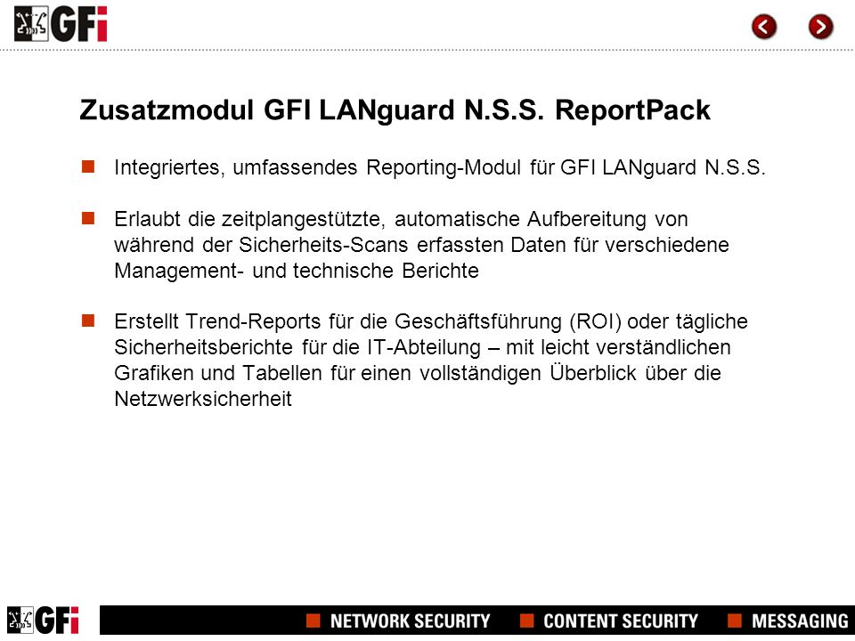 Zusatzmodul GFI LANguard N.S.S. ReportPack