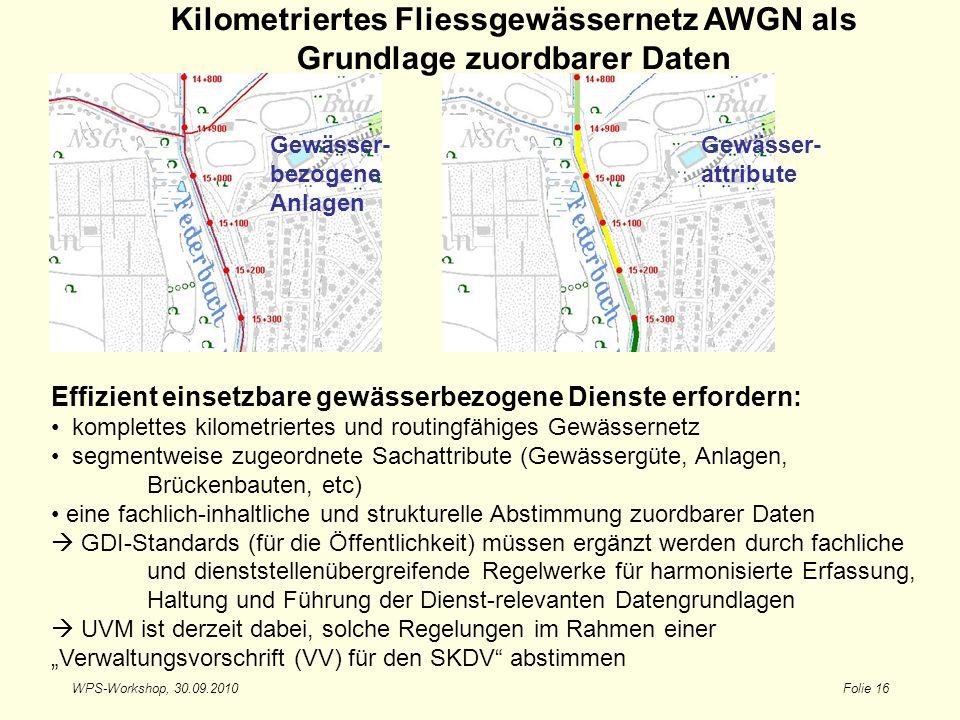 Kilometriertes Fliessgewässernetz AWGN als Grundlage zuordbarer Daten