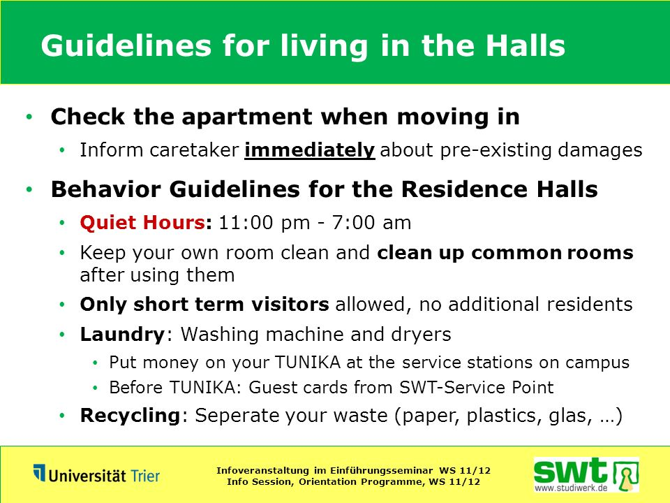 Guidelines for living in the Halls