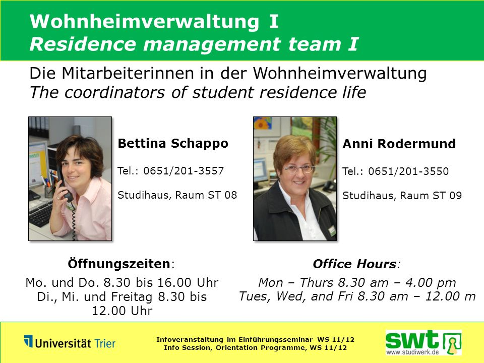 Wohnheimverwaltung I Residence management team I