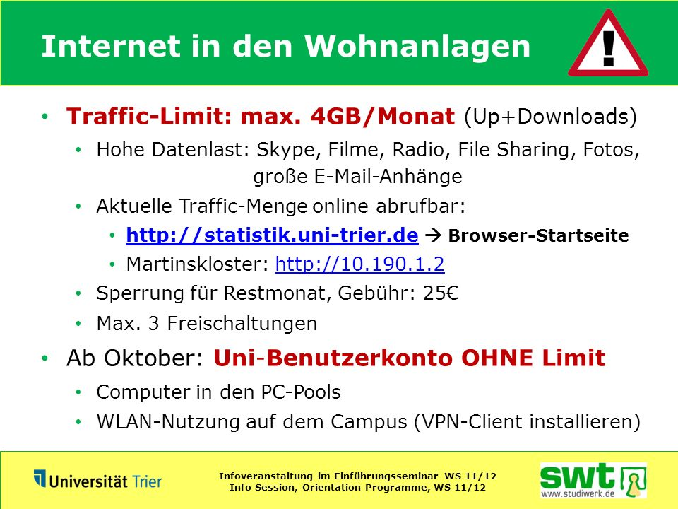 Internet in den Wohnanlagen
