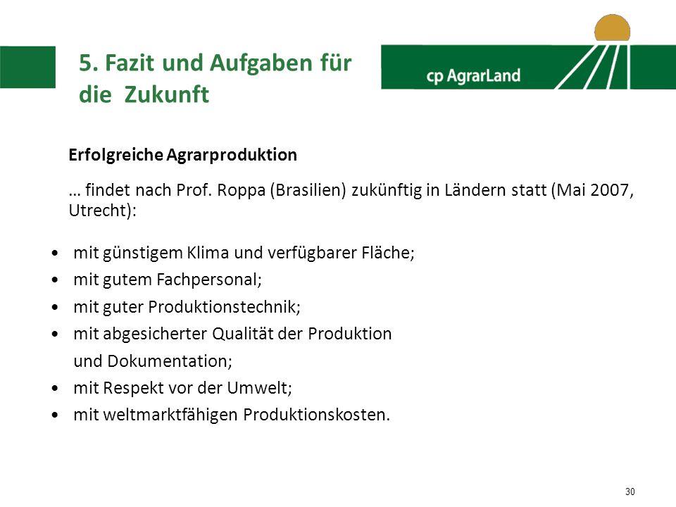 5. Fazit und Aufgaben für die Zukunft Erfolgreiche Agrarproduktion