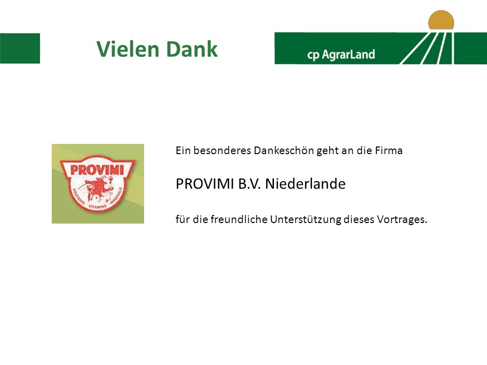 Vielen Dank PROVIMI B.V. Niederlande