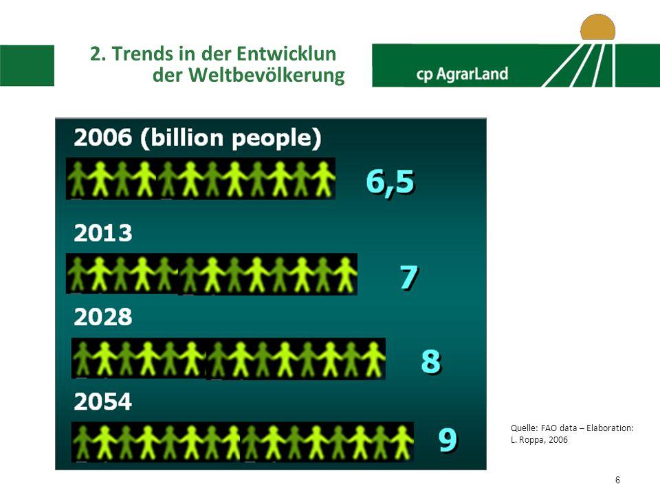 2. Trends in der Entwicklun der Weltbevölkerung