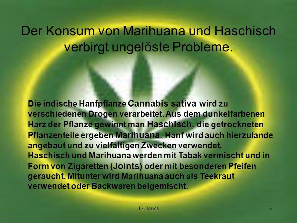 Der Konsum von Marihuana und Haschisch verbirgt ungelöste Probleme.